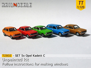 SET 5x Opel Kadett C (TT 1:120) in Smooth Fine Detail Plastic
