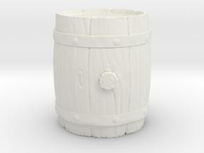 Wooden Barrel in White Natural Versatile Plastic