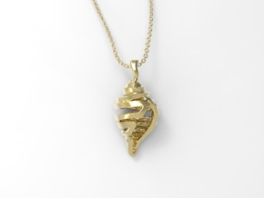 Shell Pendant in Polished Brass