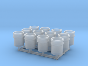 1/64 Loose 5 gallon buckets (12) in Smooth Fine Detail Plastic