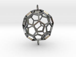 Buckyball Skeleton Pendant in Polished Silver