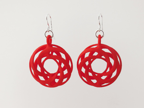 Torus Ribbon Earrings in Red Processed Versatile Plastic
