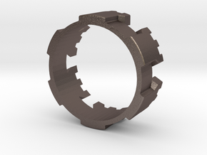 Castle ring in Polished Bronzed Silver Steel