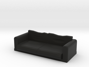 Black Fabric Sofa / Couch in Black Natural Versatile Plastic