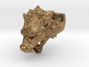 Hungry Wolf Ring in Natural Brass: 6 / 51.5
