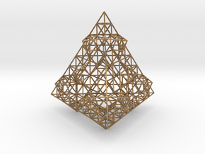 Wire Fractalised Tetrahedron in Natural Brass