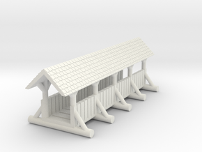 small foot bridge    planked roof long in White Natural Versatile Plastic