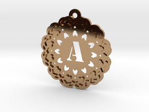 Magic Letter A Pendant in Polished Brass