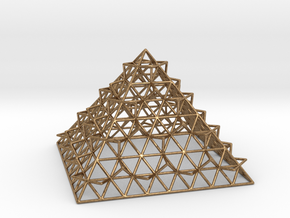 Wire Fractalised Pyramid in Natural Brass