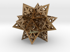 Stellated Triforce Icosahedron in Natural Brass