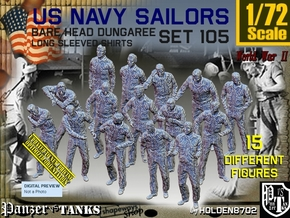 1/72 USN Dungaree Barehead Set 105 in Smooth Fine Detail Plastic