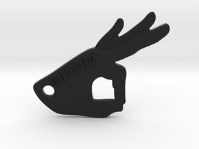 Gotcha Keychain v2 in Black Natural Versatile Plastic: Small