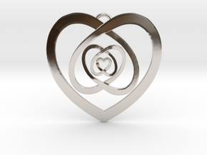 """Nested Hearts Pendant 1"""" in Rhodium Plated Brass"""