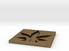 Weed/Marijuana Themed Coaster in Natural Bronze