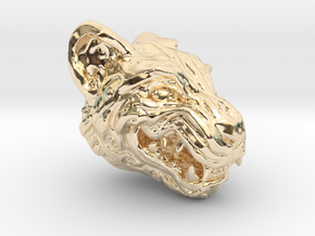 Oni-Tiger Miniature Decorative Noh Mask in 14k Gold Plated Brass: Small