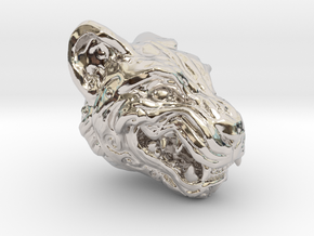 Oni-Tiger Miniature Decorative Noh Mask in Rhodium Plated Brass: Small