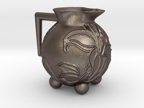 Hibiscus Pot in Polished Bronzed Silver Steel