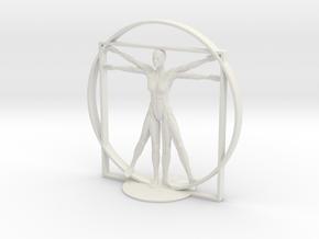 Vitruvian Robotic Woman in White Premium Versatile Plastic