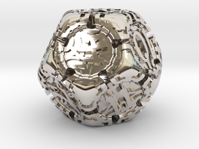 Art Nouveau d12 in Rhodium Plated Brass