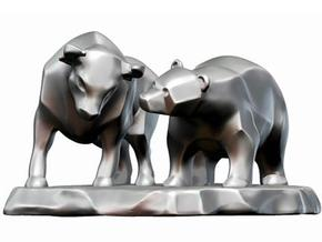 Bull And Bear Stock Exchange Sculpture in White Natural Versatile Plastic