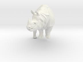 rhino statue 110mm in White Natural Versatile Plastic