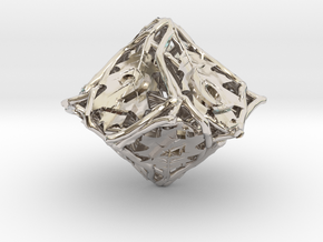 Botanical d10 Ornament in Rhodium Plated Brass