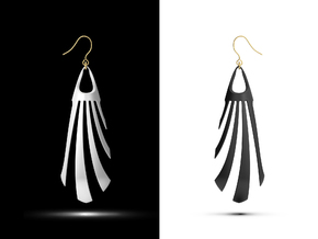 Organic-Z Earring in White Natural Versatile Plastic