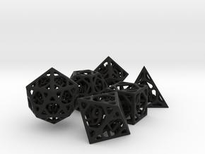 Cage Dice Set in Black Premium Versatile Plastic