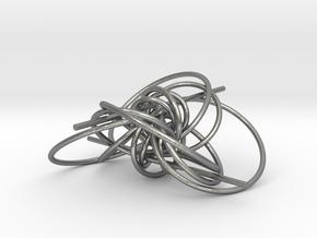 pendant p c geodesics through origine interlocked in Natural Silver (Interlocking Parts)