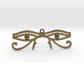 "Double Eye of Horus Pendant 2.5"" in Natural Bronze"