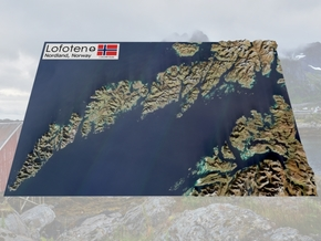 "Lofoten, Norway Map: 8.5""x14"" in Full Color Sandstone"