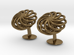 SpiralCufflinks2 in Polished Bronze