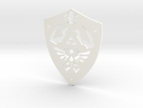 Zelda Hylian Shield Pendant in White Processed Versatile Plastic