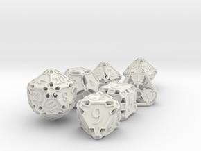 Large Premier Dice Set with Decader in White Premium Versatile Plastic