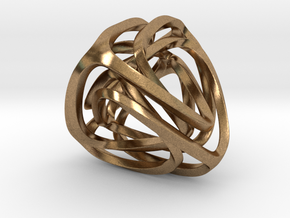 Twisted Tetrahedron (Thin) in Natural Brass: Small