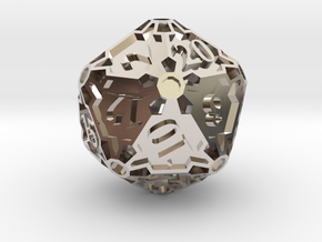 Large Premier d20 in Rhodium Plated Brass