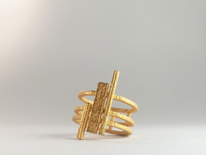Triptyque (Size K, 50, 5 1/8, 10)  in Polished Gold Steel