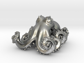 Octopus pendant in Natural Silver: Small