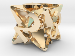 Pinwheel d6 Ornament in 14K Yellow Gold