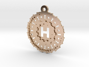 Magic Letter H Pendant in 14k Rose Gold Plated Brass