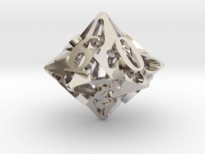 Pinwheel d10 Ornament in Platinum