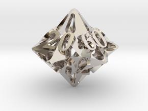 Pinwheel d10 Decader Ornament in Rhodium Plated Brass