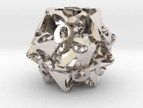 Pinwheel d12 Ornament in Platinum