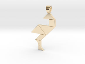 Wading bird tangram [pendant] in 14k Gold Plated Brass