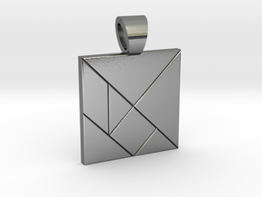 Squarish tangram [pendant] in Polished Silver