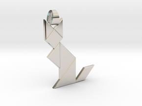 Cat tangram [pendant] in Rhodium Plated Brass