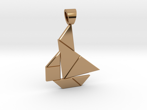 Boat tangram [pendant] in Polished Brass