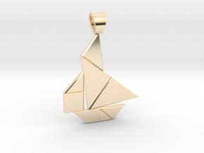 Boat tangram [pendant] in 14k Gold Plated Brass
