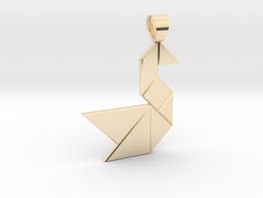Swan tangram [pendant] in 14K Yellow Gold