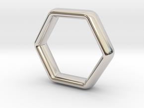 Hexi Wedding Ring US Size 10 (UK Size U) in Rhodium Plated Brass